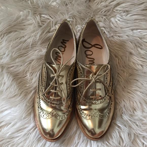 7dca47f208d Sam Edelman 6.5 Gold Penny Loafer Shoes